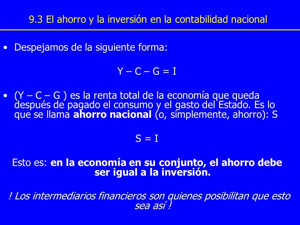9.3 El ahorro y la inversión en la contabilidad nacional Despejamos de la siguiente forma: Y – C – G = I (Y – C – G ) es la renta total de la economía