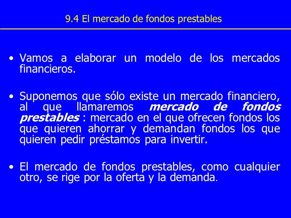9.4 El mercado de fondos prestables Vamos a elaborar un modelo de los mercados financieros. Suponemos que sólo existe un mercado financiero, al que ll
