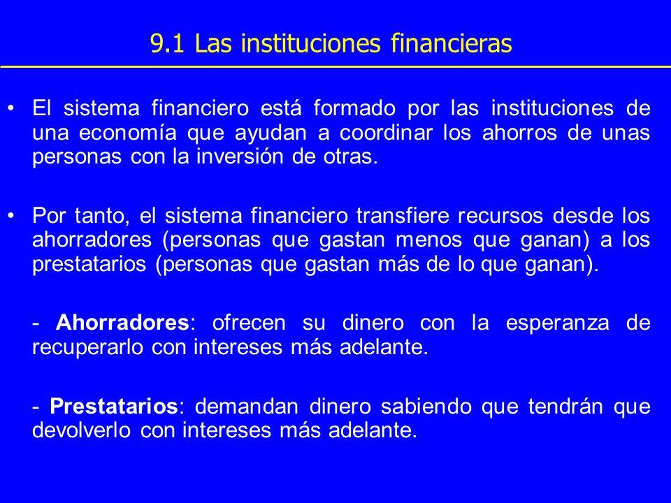 El sistema financiero está formado por las instituciones de una economía que ayudan a coordinar los ahorros de unas personas con la inversión de otras