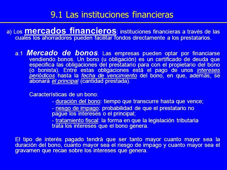 9.1 Las instituciones financieras a) Los mercados financieros : instituciones financieras a través de las cuales los ahorradores pueden facilitar fond