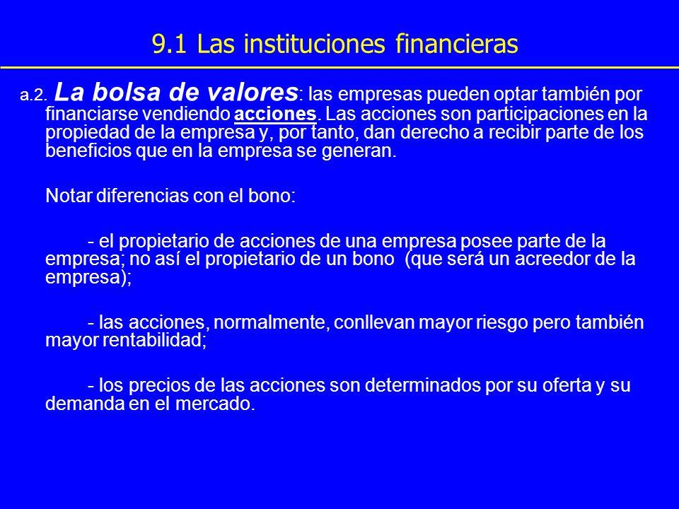 9.1 Las instituciones financieras a.2. La bolsa de valores : las empresas pueden optar también por financiarse vendiendo acciones. Las acciones son pa