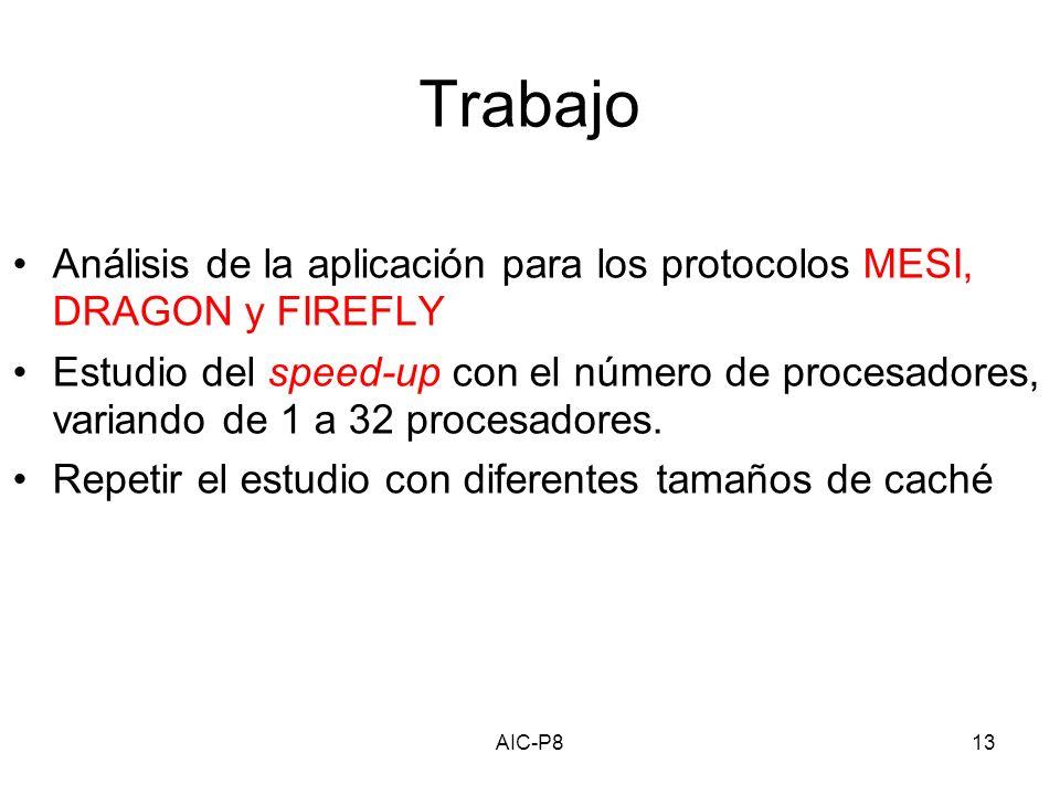 AIC-P813 Trabajo Análisis de la aplicación para los protocolos MESI, DRAGON y FIREFLY Estudio del speed-up con el número de procesadores, variando de 1 a 32 procesadores.