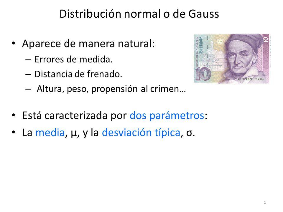 Distribución normal o de Gauss Aparece de manera natural: – Errores de medida. – Distancia de frenado. – Altura, peso, propensión al crimen… Está cara
