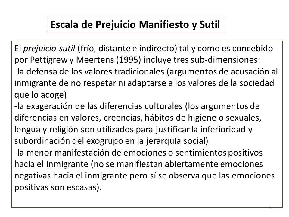 5 El prejuicio manifiesto (tradicional, más directo, agresivo y evidente) está formado por dos sub- dimensiones según Pettigrew y Meertens (1995): -la percepción de amenaza y rechazo abierto del inmigrante y -la falta de contacto íntimo con el inmigrante.