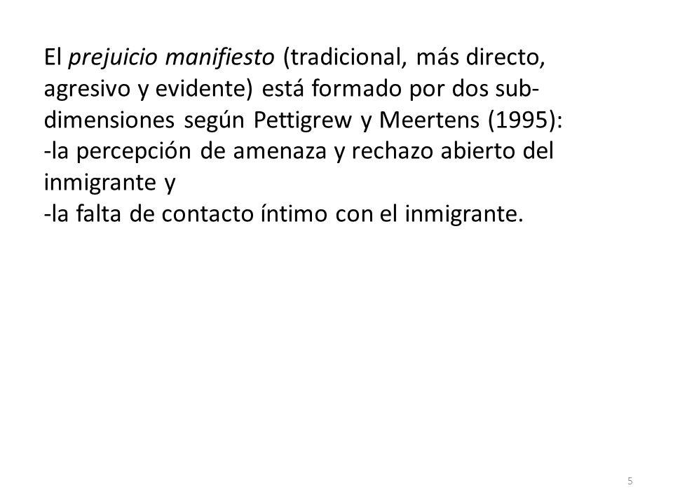 Estadísticos Prejuicio Sutil Prejuicio Manifiesto NVálidos194199 Perdidos149 Media31,2221,27 Error típico de la media,508,564 Mediana31,0020,00 Moda26 a 13 Desv.
