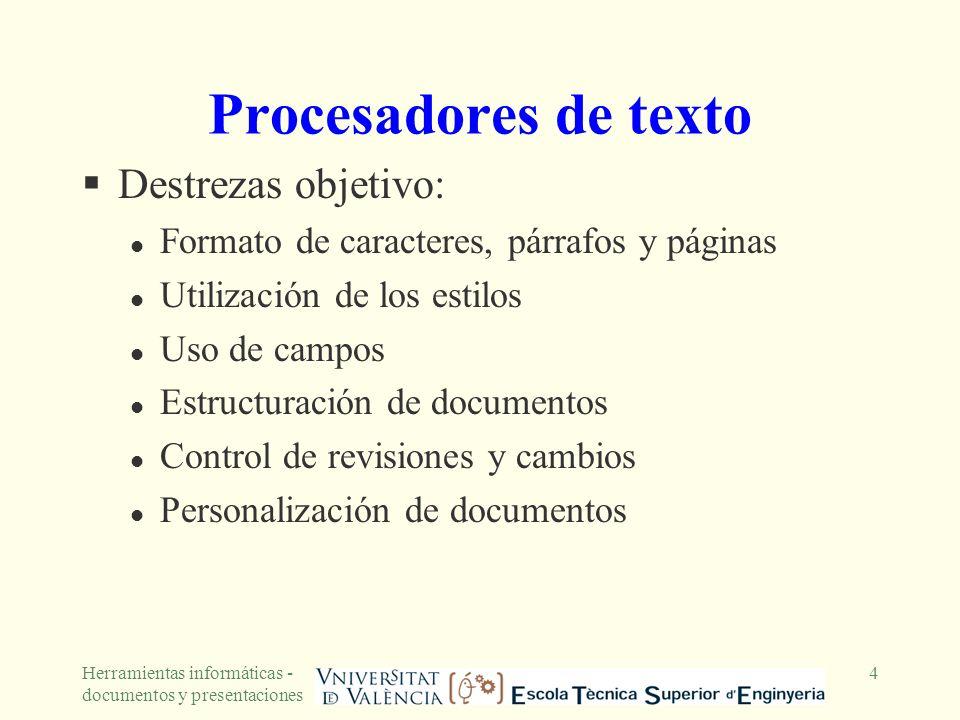 Herramientas informáticas - documentos y presentaciones 5 Formato de caracteres, párrafos y páginas Formato de caracteres: elegir para cada carácter el tipo de fuente, el tamaño y los efectos (símbolos) Formato de párrafos: determinar la alineación, la sangría, el espaciado y el control de líneas y saltos l un estilo es una descripción del formato de un párrafo y de los caracteres que lo componen Formato de página: configurar el tamaño y orientación, márgenes, cabeceras y pies de página l un documento se puede dividir en secciones (mediante saltos de sección), que se crean para poder variar el formato de página de una sección a otra