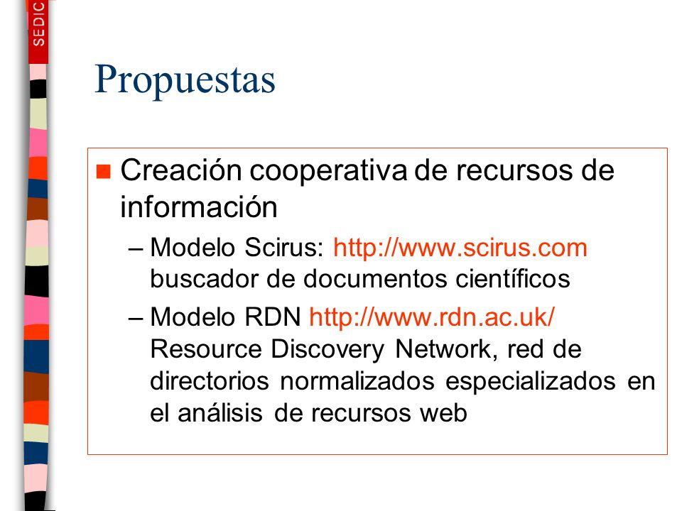Propuestas Creación cooperativa de recursos de información –Modelo Scirus: http://www.scirus.com buscador de documentos científicos –Modelo RDN http:/