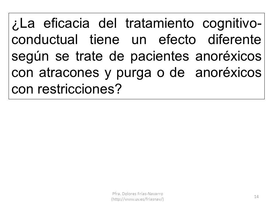 14 ¿La eficacia del tratamiento cognitivo- conductual tiene un efecto diferente según se trate de pacientes anoréxicos con atracones y purga o de anor