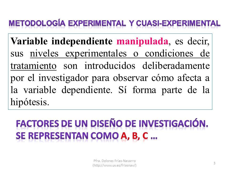 Variable independiente manipulada, es decir, sus niveles experimentales o condiciones de tratamiento son introducidos deliberadamente por el investiga