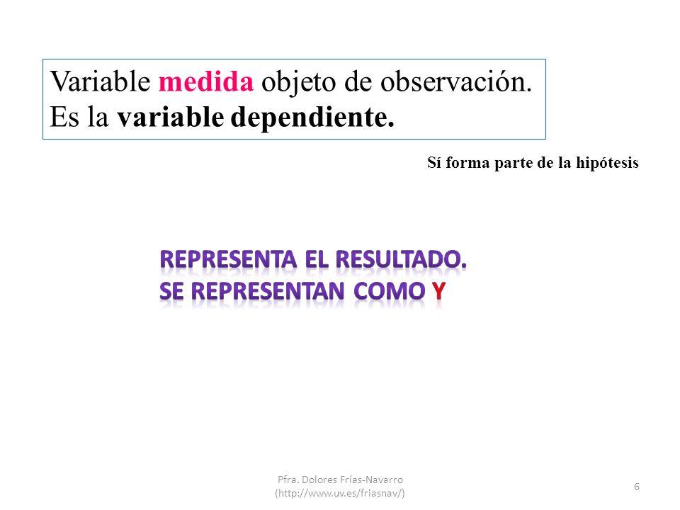 Variable medida objeto de observación. Es la variable dependiente. 6 Pfra. Dolores Frías-Navarro (http://www.uv.es/friasnav/) Sí forma parte de la hip
