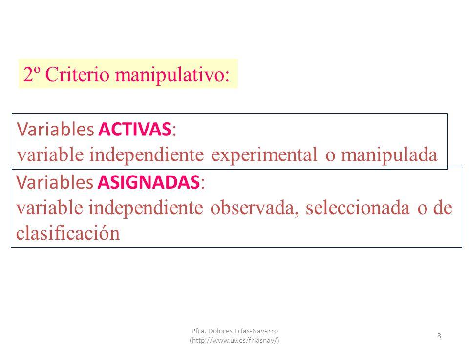 2º Criterio manipulativo: Variables ACTIVAS : variable independiente experimental o manipulada Variables ASIGNADAS : variable independiente observada,