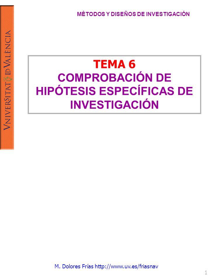 M. Dolores Frías http://www.uv.es/friasnav 1 TEMA 6 COMPROBACIÓN DE HIPÓTESIS ESPECÍFICAS DE INVESTIGACIÓN MÉTODOS Y DISEÑOS DE INVESTIGACIÓN