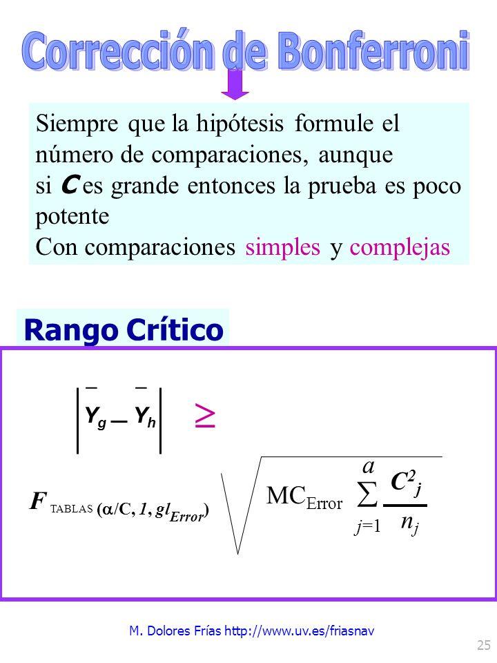 M. Dolores Frías http://www.uv.es/friasnav 25 Siempre que la hipótesis formule el número de comparaciones, aunque si C es grande entonces la prueba es