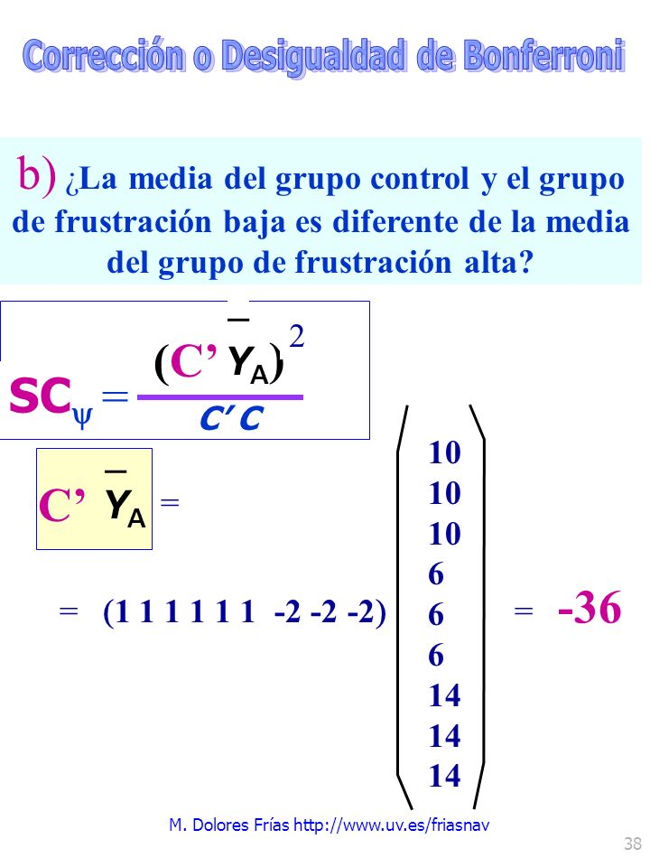 M. Dolores Frías http://www.uv.es/friasnav 38 1 1 1 1 1 1 -2 -2 -2 (C C SC = YA)YA) – 2 C YAYA – = 10 6 14 = -36 = b) ¿La media del grupo control y el