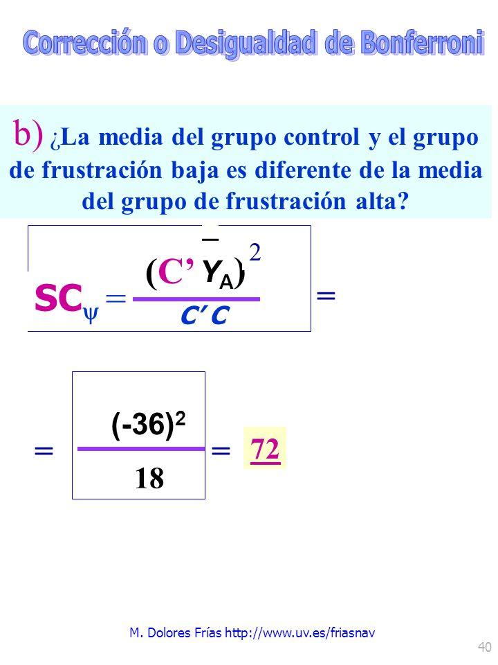 M. Dolores Frías http://www.uv.es/friasnav 40 (C C SC = YA)YA) – 2 (-36) 2 18 = = 72 b) ¿La media del grupo control y el grupo de frustración baja es
