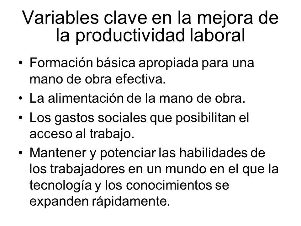 Variables clave en la mejora de la productividad laboral Formación básica apropiada para una mano de obra efectiva. La alimentación de la mano de obra