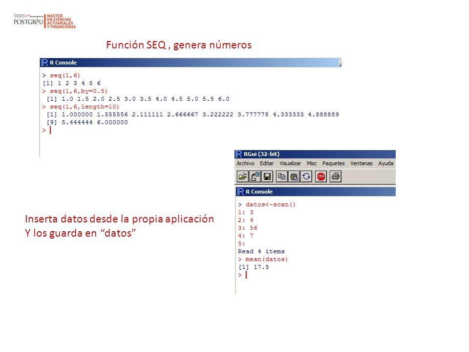 Función SEQ, genera números Inserta datos desde la propia aplicación Y los guarda en datos