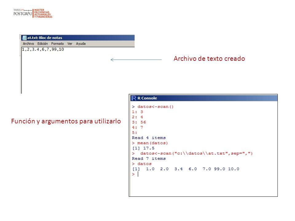 Archivo de texto creado Función y argumentos para utilizarlo