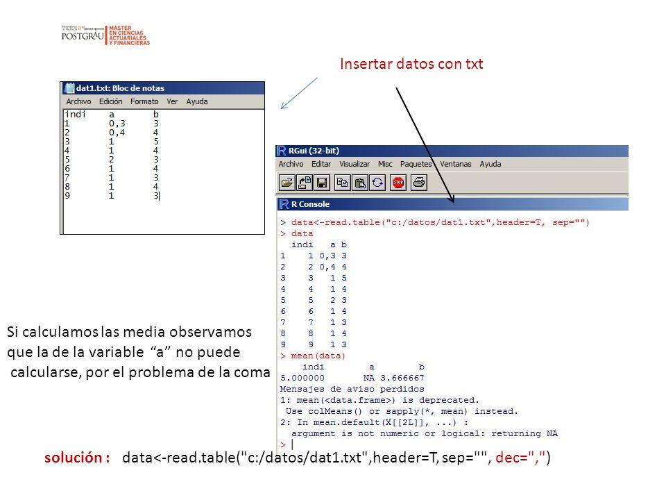 Insertar datos con txt Si calculamos las media observamos que la de la variable a no puede calcularse, por el problema de la coma solución : data<-rea