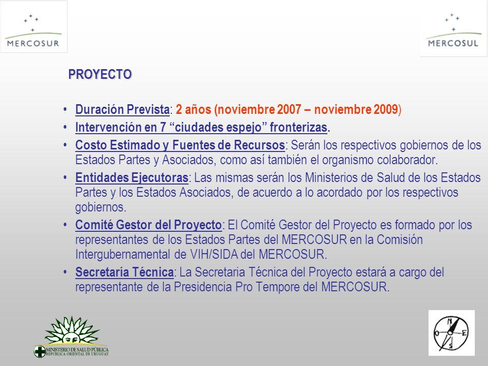 PROYECTO Duración Prevista : 2 años (noviembre 2007 – noviembre 2009 ) Intervención en 7 ciudades espejo fronterizas. Costo Estimado y Fuentes de Recu