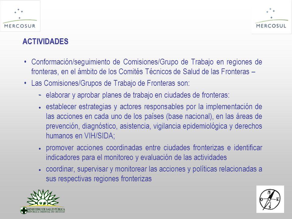ACTIVIDADES Conformación/seguimiento de Comisiones/Grupo de Trabajo en regiones de fronteras, en el ámbito de los Comités Técnicos de Salud de las Fro