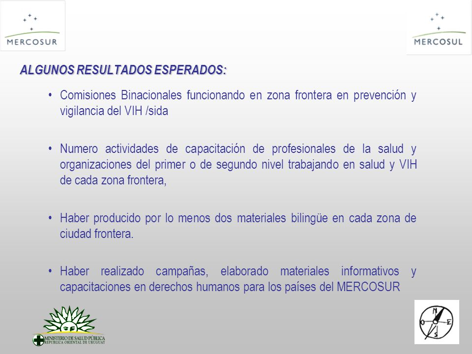 ALGUNOS RESULTADOS ESPERADOS: Comisiones Binacionales funcionando en zona frontera en prevención y vigilancia del VIH /sida Numero actividades de capa