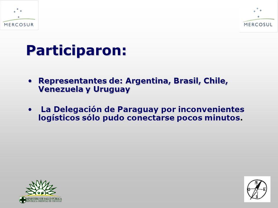 Participaron: Representantes de: Argentina, Brasil, Chile, Venezuela y UruguayRepresentantes de: Argentina, Brasil, Chile, Venezuela y Uruguay La Dele