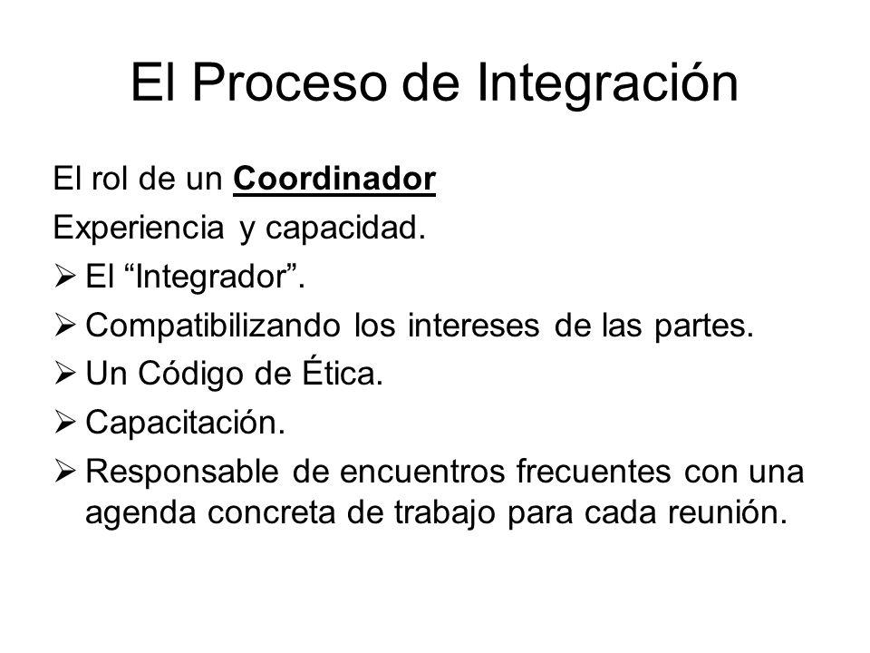 El Proceso de Integración El rol de un Coordinador Experiencia y capacidad. El Integrador. Compatibilizando los intereses de las partes. Un Código de