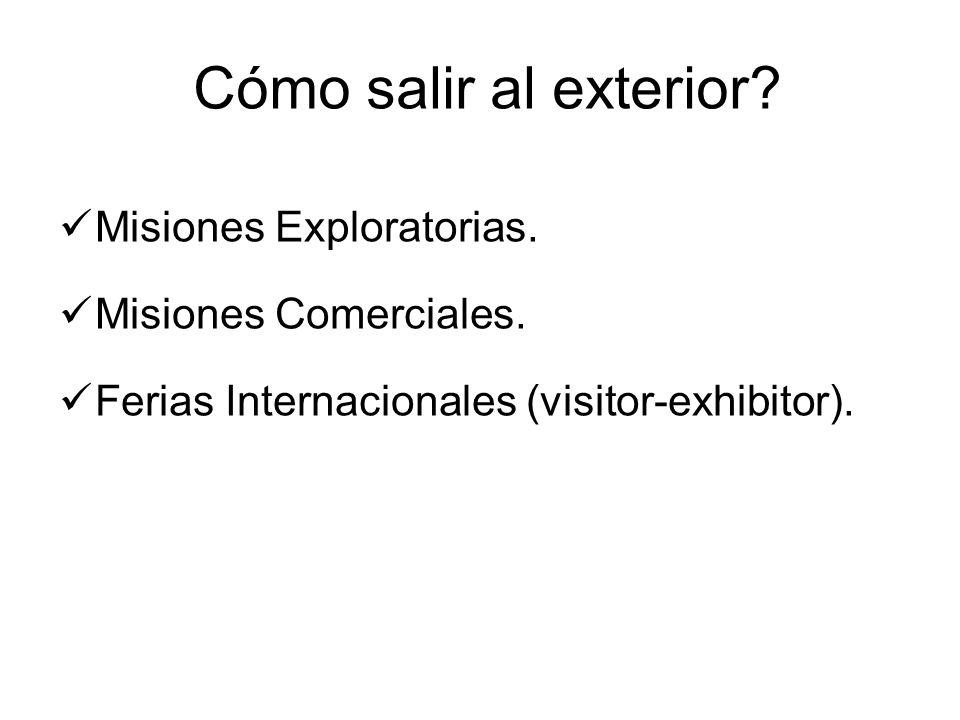 Cómo salir al exterior? Misiones Exploratorias. Misiones Comerciales. Ferias Internacionales (visitor-exhibitor).