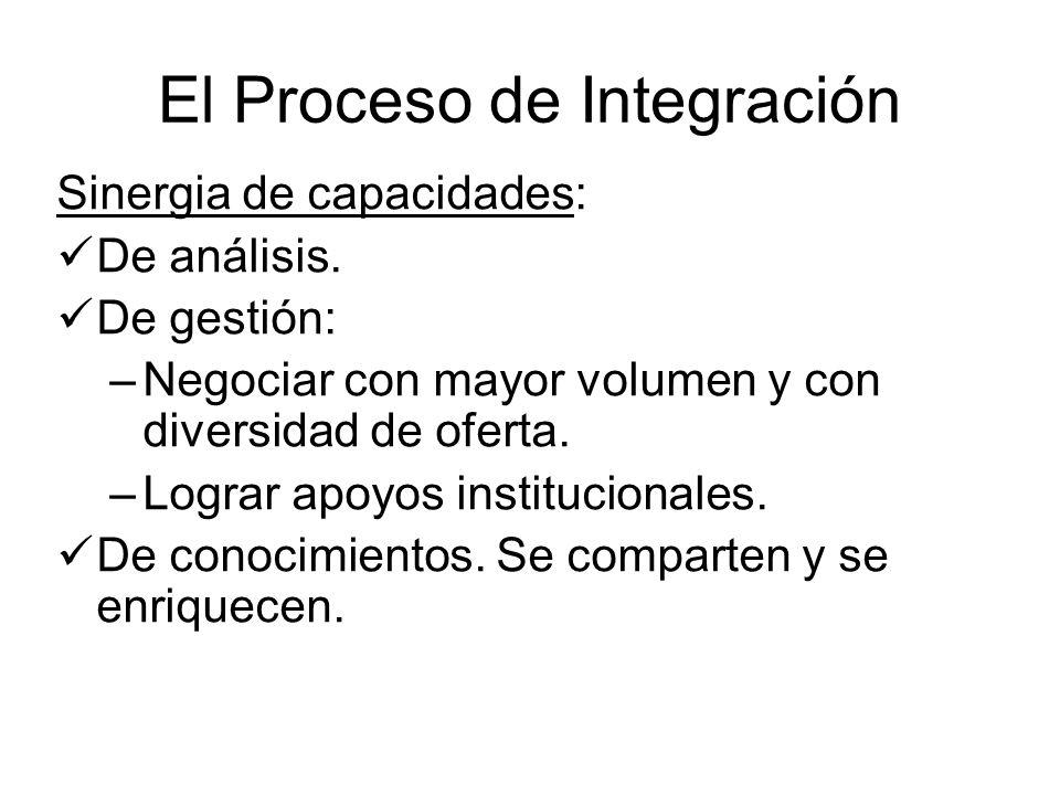 El Proceso de Integración Sinergia de capacidades: De análisis. De gestión: –Negociar con mayor volumen y con diversidad de oferta. –Lograr apoyos ins