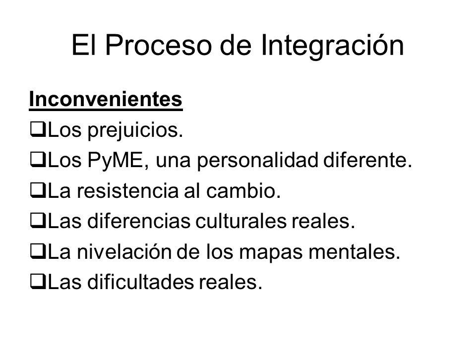 El Proceso de Integración Inconvenientes Los prejuicios. Los PyME, una personalidad diferente. La resistencia al cambio. Las diferencias culturales re