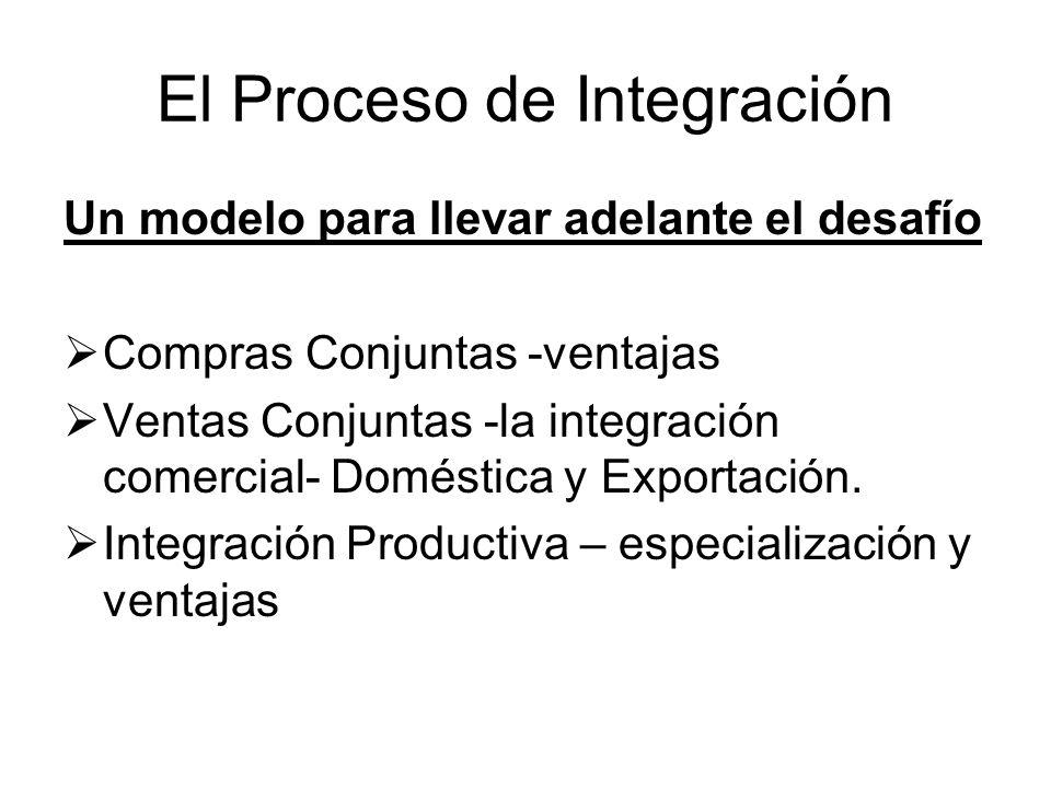 El Proceso de Integración Un modelo para llevar adelante el desafío Compras Conjuntas -ventajas Ventas Conjuntas -la integración comercial- Doméstica
