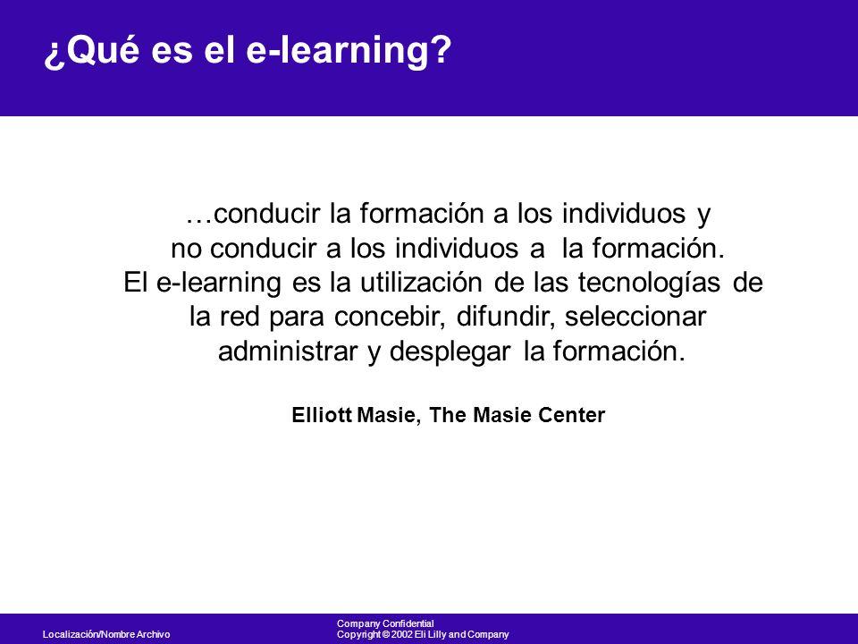 Localización/Nombre Archivo Company Confidential Copyright © 2002 Eli Lilly and Company ¿Qué es el e-learning? …conducir la formación a los individuos