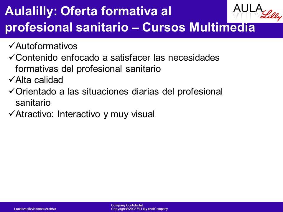 Localización/Nombre Archivo Company Confidential Copyright © 2002 Eli Lilly and Company Aulalilly: Oferta formativa al profesional sanitario – Cursos