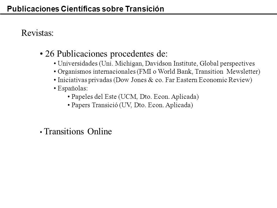 Publicaciones Científicas sobre Transición Revistas: 26 Publicaciones procedentes de: Universidades (Uni.
