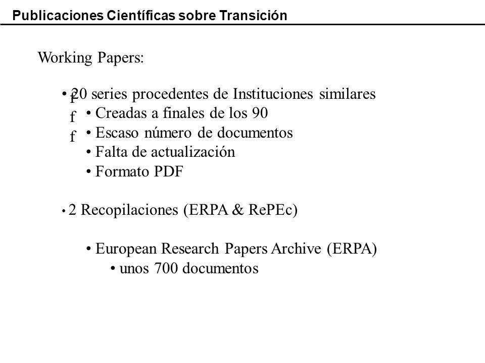 Publicaciones Científicas sobre Transición Working Papers: ffffff 20 series procedentes de Instituciones similares Creadas a finales de los 90 Escaso número de documentos Falta de actualización Formato PDF 2 Recopilaciones (ERPA & RePEc) European Research Papers Archive (ERPA) unos 700 documentos