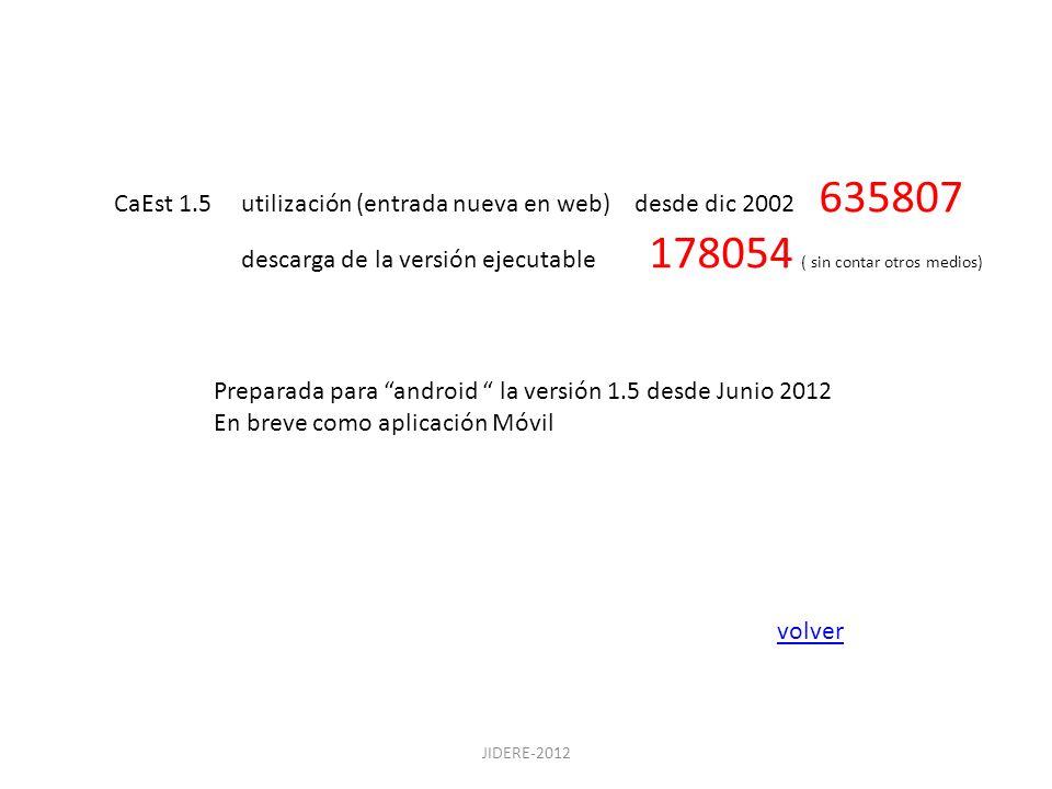 CaEst 1.5 utilización (entrada nueva en web) desde dic 2002 635807 descarga de la versión ejecutable 178054 ( sin contar otros medios) Preparada para