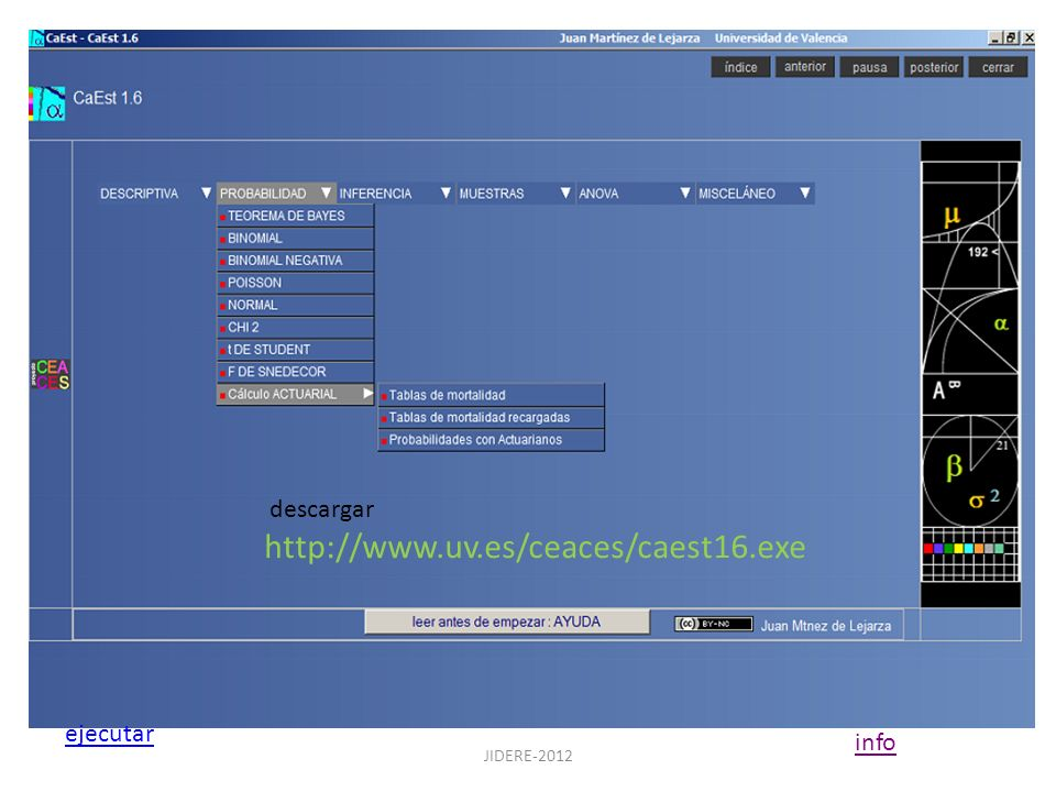 JIDERE-2012 descargar http://www.uv.es/ceaces/caest16.exe ejecutar info