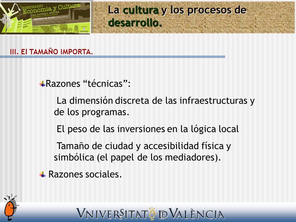La cultura y los procesos de desarrollo. III. El TAMAÑO IMPORTA. Razones técnicas: La dimensión discreta de las infraestructuras y de los programas. E