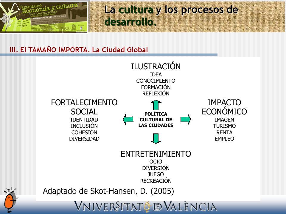 La cultura y los procesos de desarrollo. III. El TAMAÑO IMPORTA. La Ciudad Global