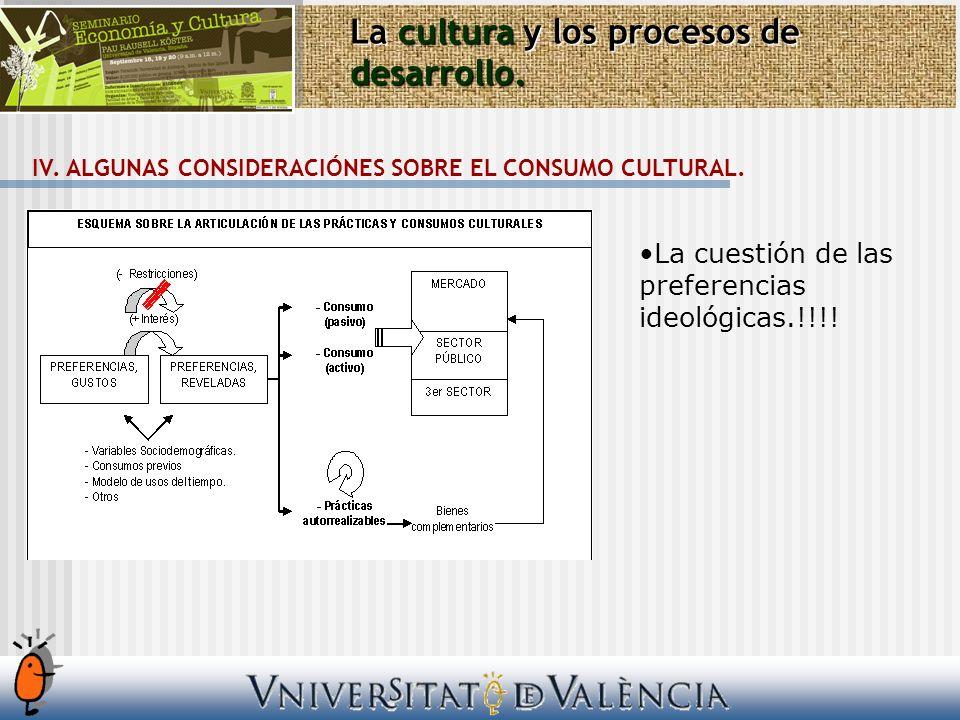 La cultura y los procesos de desarrollo. IV. ALGUNAS CONSIDERACIÓNES SOBRE EL CONSUMO CULTURAL. La cuestión de las preferencias ideológicas.!!!!