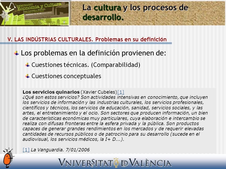 La cultura y los procesos de desarrollo. V. LAS INDÚSTRIAS CULTURALES. Problemas en su definición Los problemas en la definición provienen de: Cuestio
