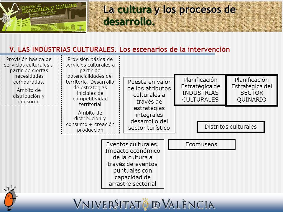 Provisión básica de servicios culturales a partir de ciertas necesidades comparadas.