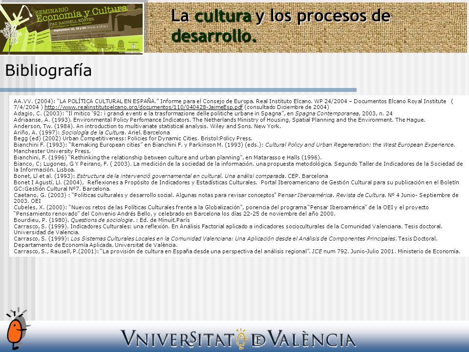 Bibliografía La cultura y los procesos de desarrollo. AA.VV. (2004): LA POLÍTICA CULTURAL EN ESPAÑA. Informe para el Consejo de Europa. Real Instituto