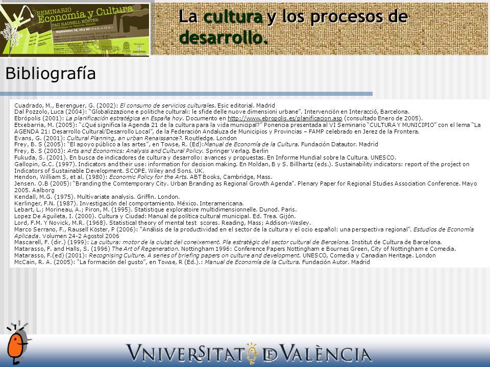 Bibliografía La cultura y los procesos de desarrollo. Cuadrado, M., Berenguer, G. (2002): El consumo de servicios culturales. Esic editorial. Madrid D