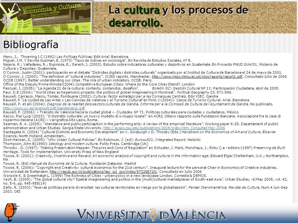 Bibliografía La cultura y los procesos de desarrollo. Meny, I., Thoening J.C (1992) Las Políticas Públicas. Edit Ariel. Barcelona. Miguel, J.M. Y Sevi