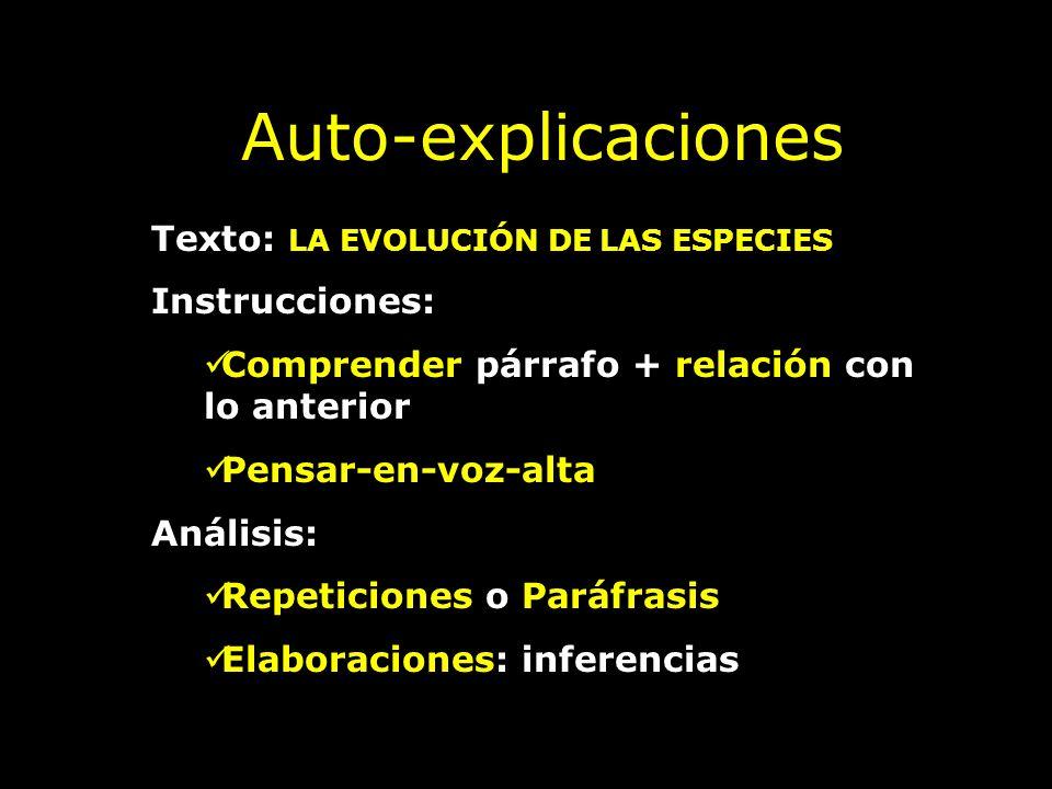 Auto-explicaciones Texto: LA EVOLUCIÓN DE LAS ESPECIES Instrucciones: Comprender párrafo + relación con lo anterior Pensar-en-voz-alta Análisis: Repet
