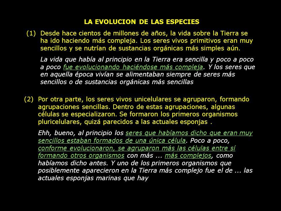 LA EVOLUCION DE LAS ESPECIES (1)Desde hace cientos de millones de años, la vida sobre la Tierra se ha ido haciendo más compleja. Los seres vivos primi