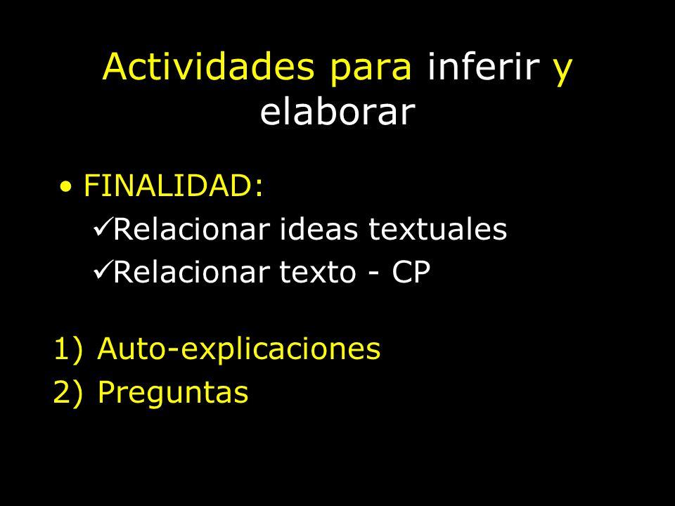 Actividades para inferir y elaborar 1)Auto-explicaciones 2)Preguntas FINALIDAD: Relacionar ideas textuales Relacionar texto - CP