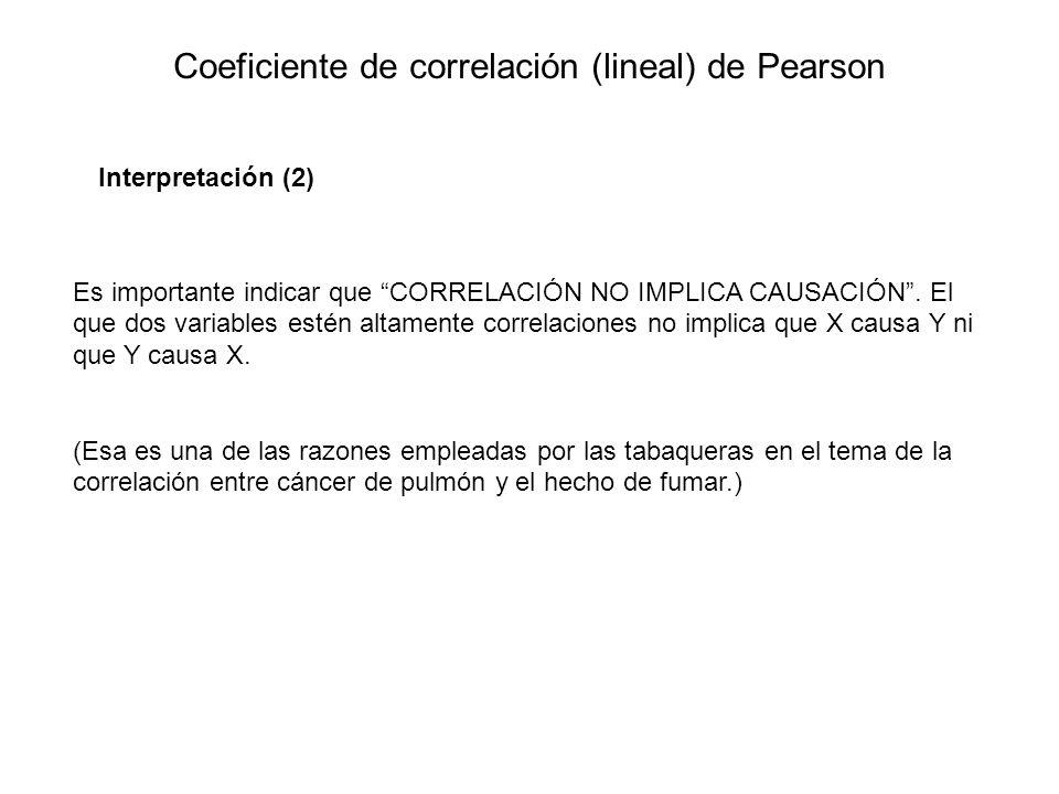 Coeficiente de correlación (lineal) de Pearson Interpretación (2) Es importante indicar que CORRELACIÓN NO IMPLICA CAUSACIÓN. El que dos variables est